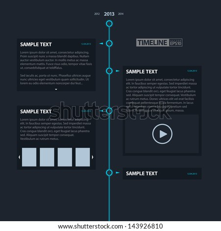 Dark Timeline Infographics / EPS10 Vector Illustration / can be use for web design, web elements, infographics, banners, advertising, applications / - stock vector