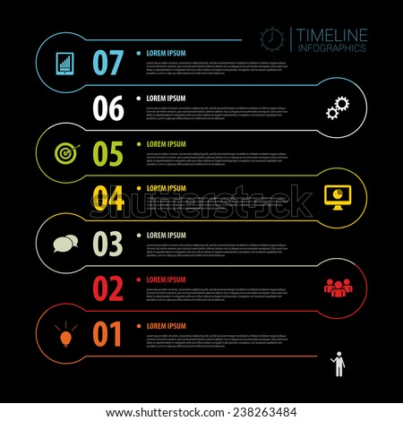 Dark Timeline Infographics with icons. Vector - stock vector