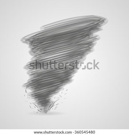 Dark tornado with shadow on  a gray background - stock vector