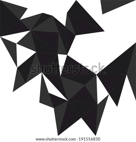 Dark triangle vector background or pattern. Flat white, black and grey surface wrapping geometric mosaic for wallpaper or halloween website design - stock vector