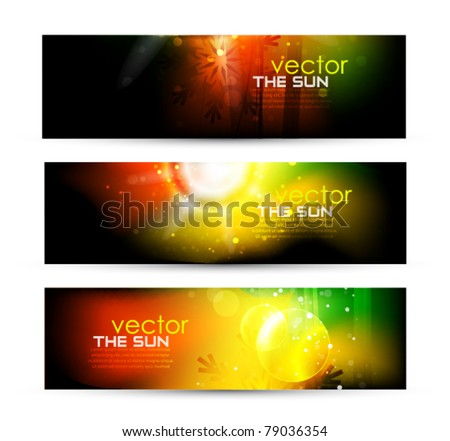 Dark vector header with colorful glowing set