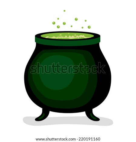 Dark witch magic cauldron with green brew potion boiling bubbling - stock vector
