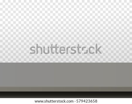 Dark Wooden Or Plastic Black Tabletop. Vector Table Top Isolated On  Transparent Background.