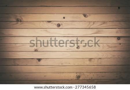 Dark wooden texture with horizontal planks. Vector floor surface - stock vector