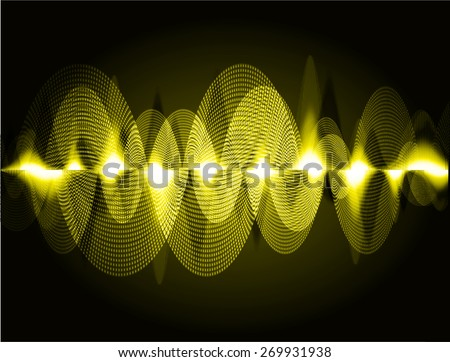 dark yellow abstract digital sound wave background. Light Technology background for computer graphic website internet. - stock vector