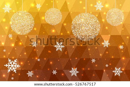 Dark Yellow christmas postcard low polygon background. Vector illustration consisting of triangles. Abstract triangular polygonal origami or crystal design of New Year celebration.