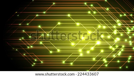 Dark yellow Light Abstract Technology background for computer graphic website and internet, circuit board. Sound waves.