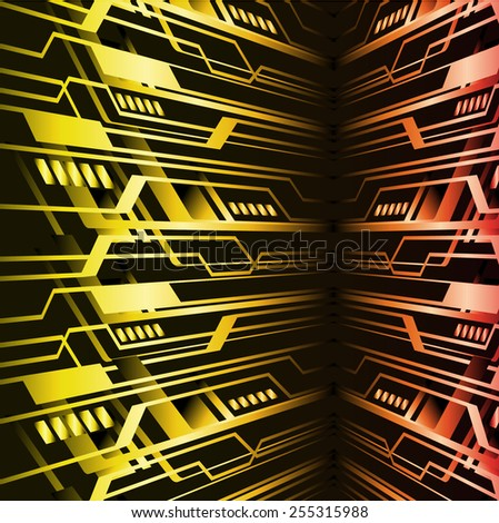 Dark yellow orange color Light Abstract Technology background for computer graphic website internet. circuit