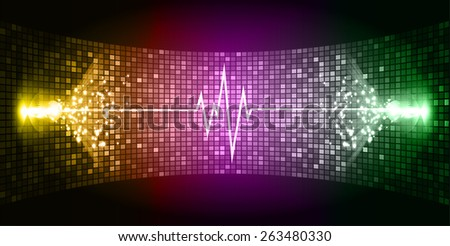 Dark yellow purple green Sound wave background suitable as a backdrop for music, technology and sound projects. Blue Heart pulse monitor with signal. Heart beat. - stock vector