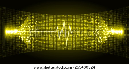 Dark yellow Sound wave background suitable as a backdrop for music, technology and sound projects. Blue Heart pulse monitor with signal. Heart beat. - stock vector