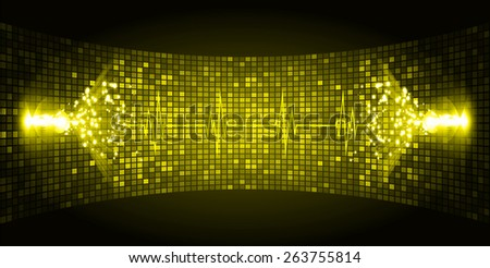 Dark yellow Sound wave background suitable as a backdrop for music, technology and sound projects. Heart pulse monitor with signal. Heart beat. - stock vector