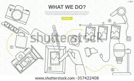 Darkroom Equipment, Photo and Film Developing, Line Drawing for Website Design and Banner