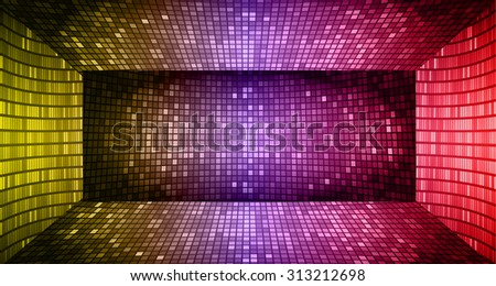 Darkyellow purple red Abstract light lamps background for Technology computer graphic website internet. Screen on stage.Vector illustration.Spot Effect. neon.point, platform, Spotlights.room chamber - stock vector