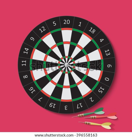 Dart and dartboard. Darts vector Illustration.