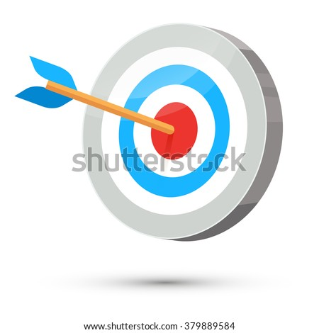 Dart arrow hitting center target on white background, flat vector illustration, 3d stylize
