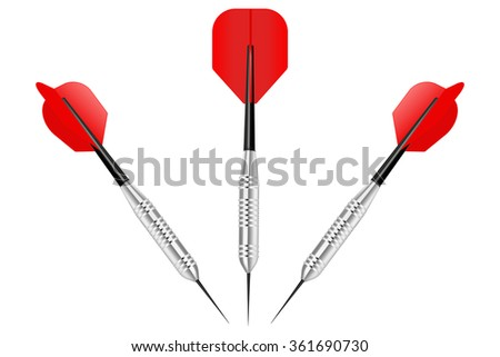Dart arrow vector. Red dart arrows.  Illustration isolated on white background - stock vector