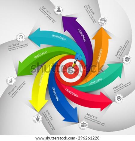 Dart board arrow infographic .business concept - stock vector