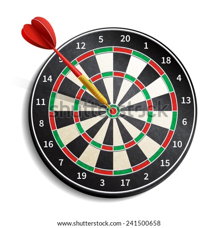 Dart board with arrow realistic isolated on white background vector illustration - stock vector