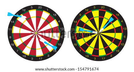 Dart boards and darts, which be accurate and inaccurate - stock vector