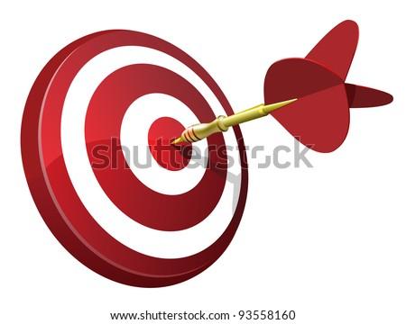 Dart Hitting A Target - stock vector