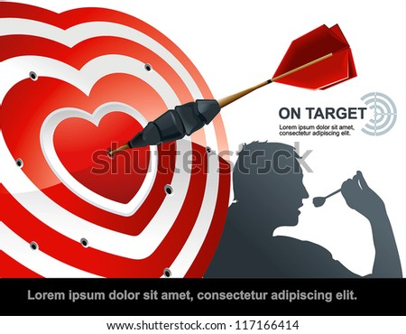 Dart Hitting A Target, Isolated On White Background, Vector Illustration - stock vector