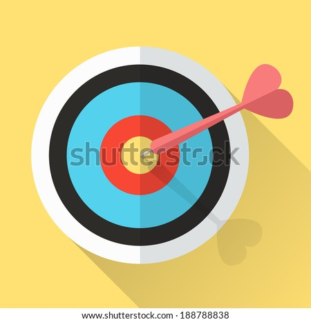 Dart Hitting A Target. lucky in game lucky in love. Business successful concept. vector - stock vector