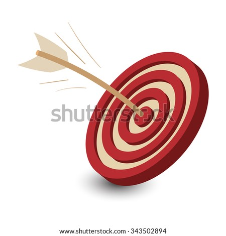 Dart in target icon. Dart in target icon vector. Dart in target icon illustration. Dart in target icon shape. Dart in target icon art. Dart in target icon picture - stock vector