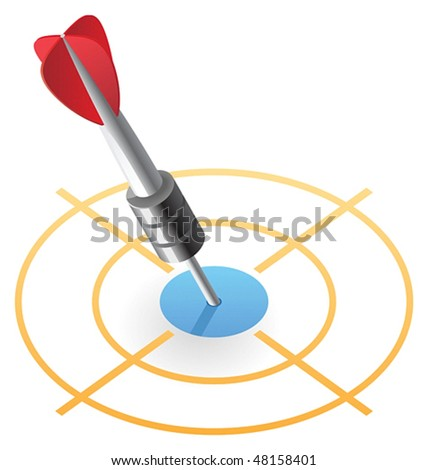 Dart in target. Vector illustration. - stock vector