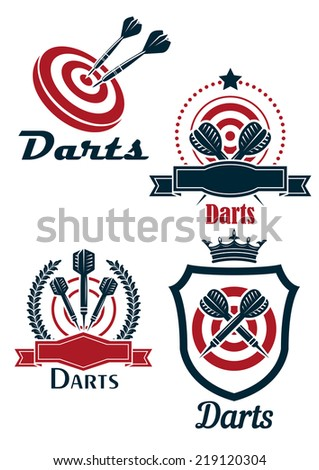 Dart sporting emblems with targets, darts and decorative elements for leisure or sports design - stock vector
