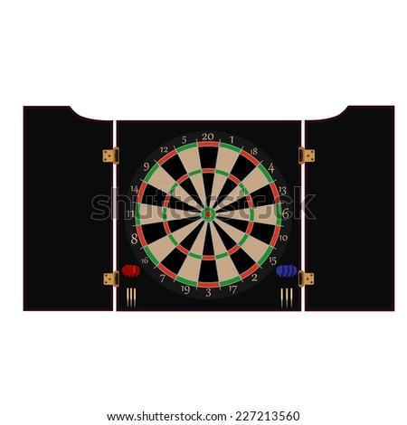 Dartboard cabinet, dartboard, dartboard vector, dartboard isolated - stock vector