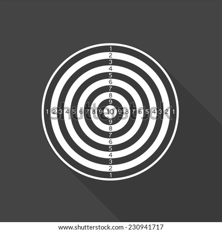 dartboard icon - vector illustration with long shadow isolated on gray