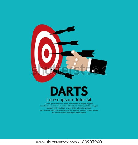 Dartboard with Darts in Hand - stock vector