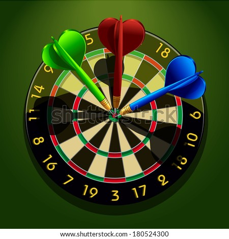 Dartboard with darts in the center concept business acumen success vector illustration - stock vector