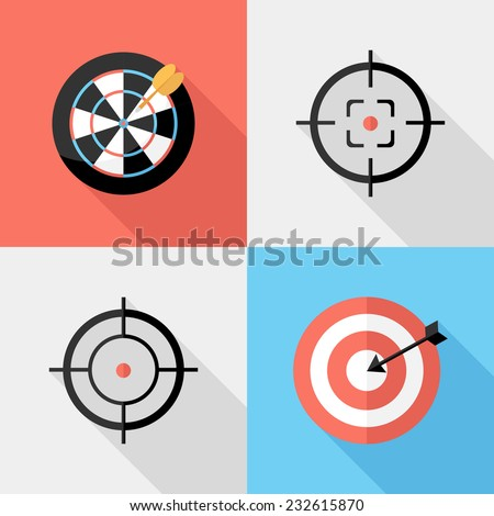 Darts and sight icons. Flat design style modern vector illustration. Isolated on stylish color background. Flat long shadow icon. Elements in flat design. - stock vector