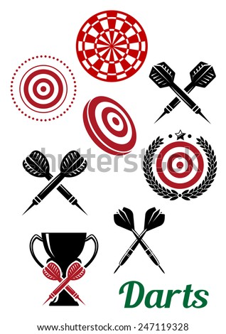 Darts design elements for sporting emblems or logo including crossed darts, target  board, trophy cup and text Darts in black and red colors - stock vector