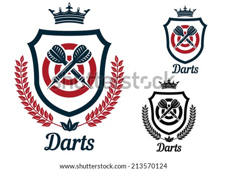Darts emblems or signs set with dartboard, crown, heraldic shield, arrows, laurel wreath, crown and text  Darts, for sport and recreation logo design  - stock vector