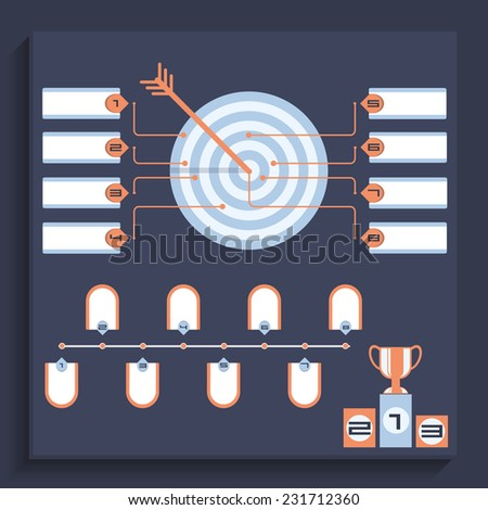 Darts game tournament rules. Target with multicolor banners board. Business concept infographic template. Business target marketing dart idea. Abstract target option infographic elements - stock vector