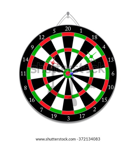 Darts game with javelins hanging on a nail
