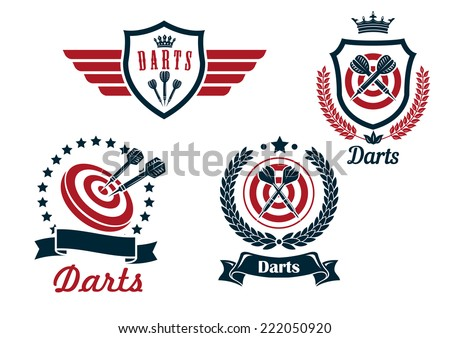 Darts heraldry emblems with arrows and dartboards, isolated on white for sporting logo design - stock vector