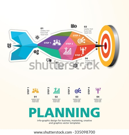 Darts Hitting a Target Bullseye, Business Concept, Targeting concept design on dark background, info graphic vector used for workflow layout, diagram,banner, number options, graphic or web design.  - stock vector