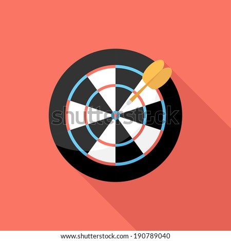 Darts icon. Flat design style modern vector illustration. Isolated on stylish color background. Flat long shadow icon. Elements in flat design. - stock vector