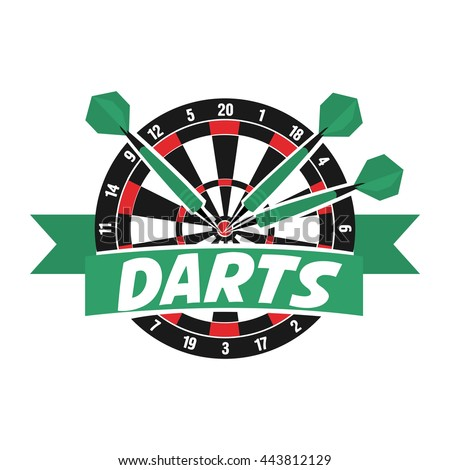 darts label badge logo darts sporting stock vector royalty free
