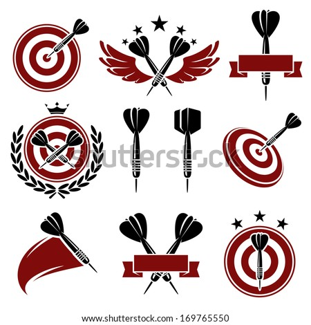 Darts labels and icons set. Vector  - stock vector