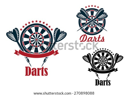 Darts sport game emblems and symbols with target, dart, ribbon and text - stock vector