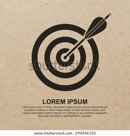 Darts target aim icon on brown recycled paper background - Vector