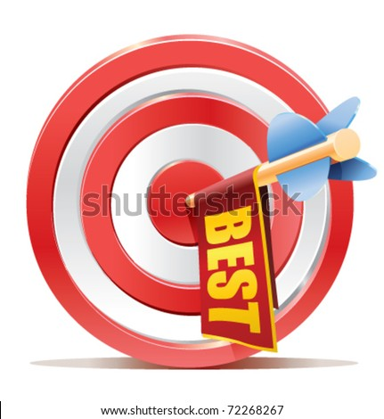 darts target aim with arrow and cute ad banner with the BEST text - stock vector