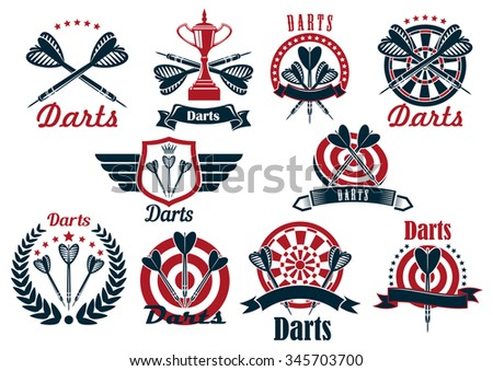 Darts tournament symbols and icons with dartboards, arrows and trophy bowls, decorated by crowned heraldic shield with wings, laurel wreath, ribbon banners and stars - stock vector