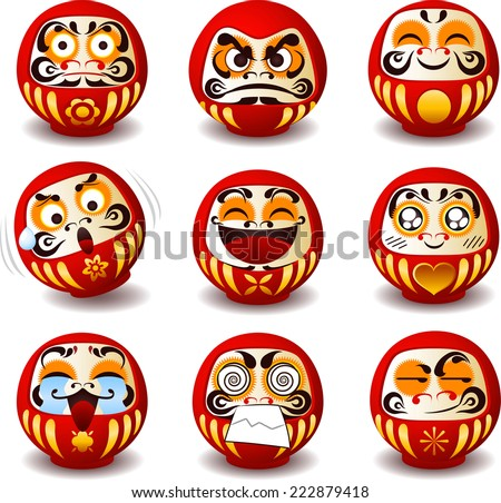 Daruma doll, Daruma, Dharma doll, Dharma, round, Japanese traditional doll, Bodhidharma, zen, bearded man, good luck, symbol of perseverance, popular gift, encouragement, temples, monk, meditation.  - stock vector