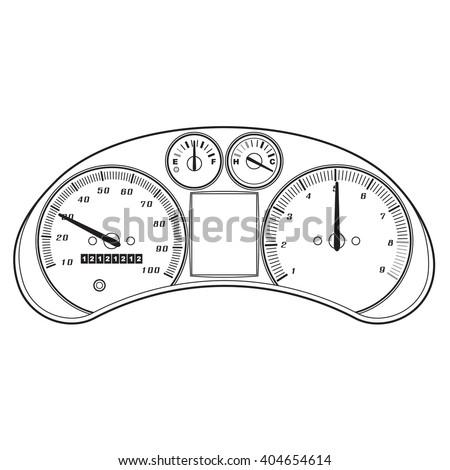 Dashboard instrument panel. - stock vector