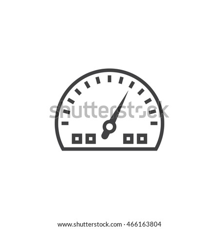 Dashboard line icon, speedometer gauge outline vector logo illustration, linear pictogram isolated on white